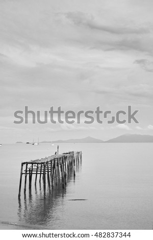 black and white picture of wooden path into the sea
