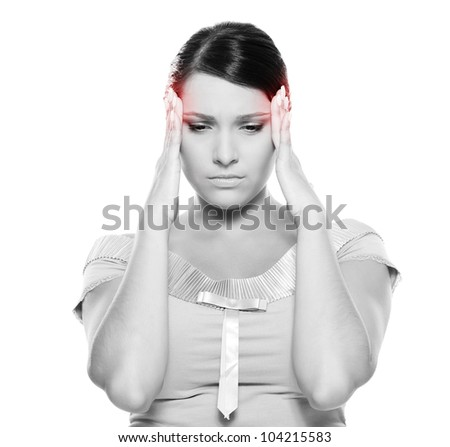 black-and-white picture of young woman have a headache. isolated on white background