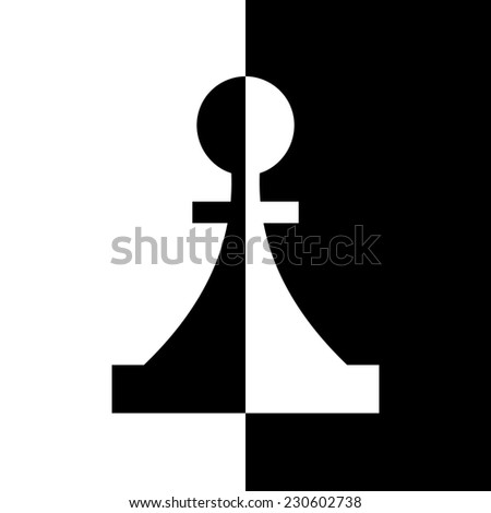 Black-and-white piece. Chess game, strategy and logic - stock photo