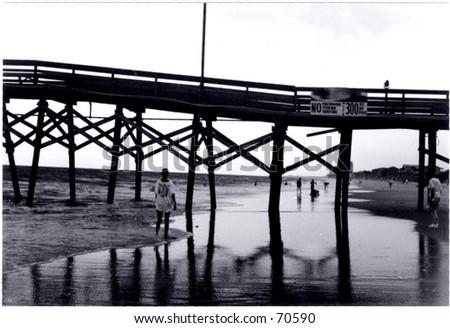Black and White Pier - stock photo