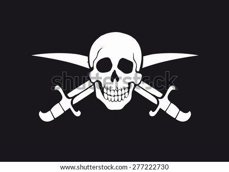 black and white pirate flag Jolly Roger with skull and swords - stock photo