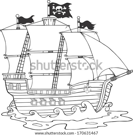 Black And White Pirate Ship Sailing Under Jolly Roger Flag. Raster Illustration
