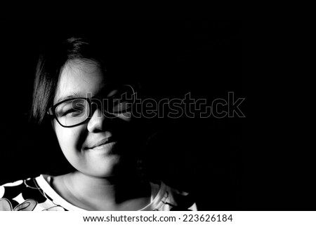black and white portrait asian girl