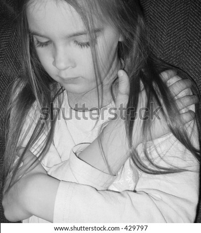 Black and white portrait of a beautiful child. - stock photo
