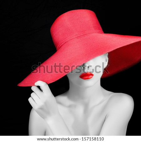 black and white portrait of a beautiful mysterious woman - stock photo