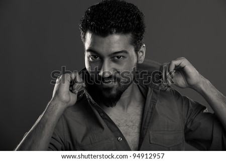 Black and White portrait of a handsome egyptian men