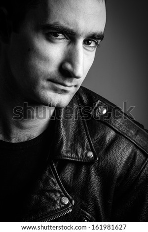Black and white portrait of a handsome man