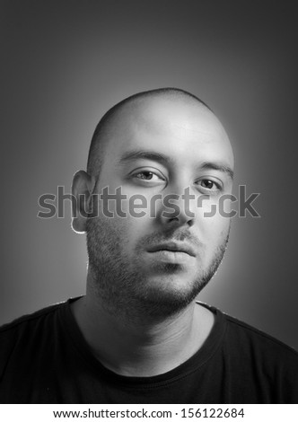 black and white portrait of a man - stock photo