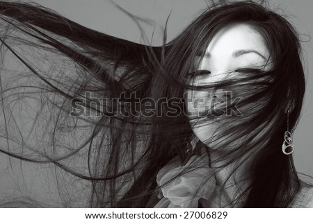 black and white portrait of asian woman - stock photo