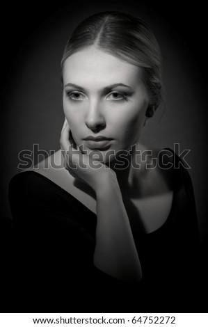 Black and white portrait of beautiful lady - stock photo