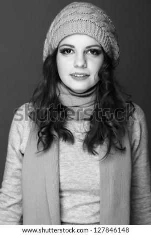 Black and White portrait of happy girl - stock photo