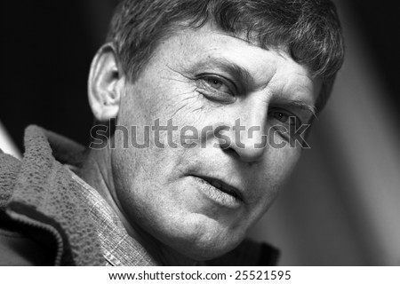Black and white portrait of mature man; selective focus