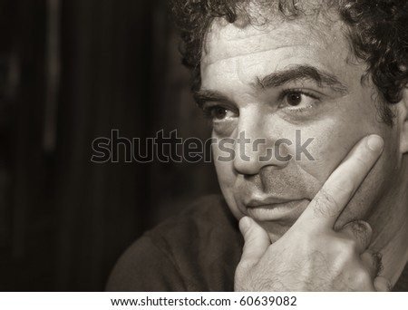 Black and white portrait of melancholy man