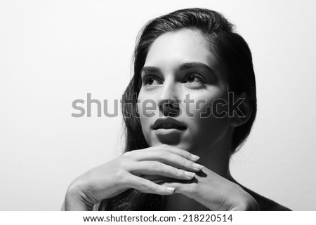 Black and white portrait of young beautiful woman - stock photo