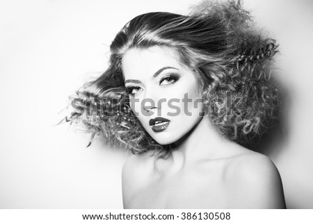 black and white portrait of young girl - stock photo