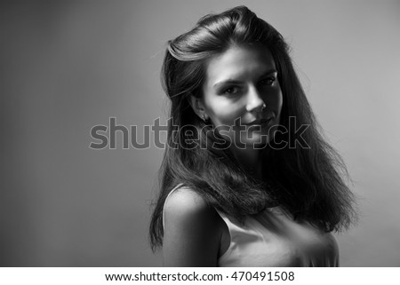 Black and white portrait of young lady