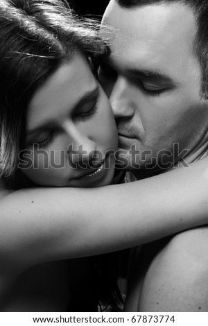black and white portrait of young lovers