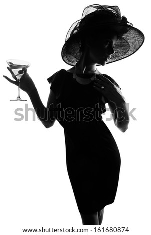 Black and White Posh Lady with Wide Brimmed Hat - stock photo