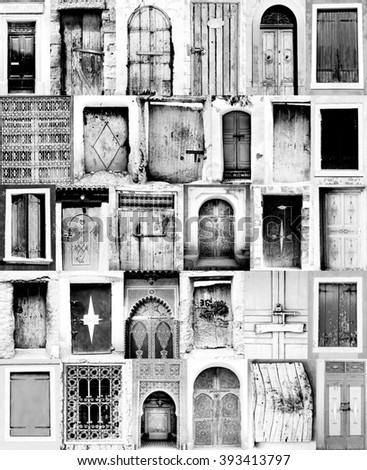 black and white poster from old moroccan doorways