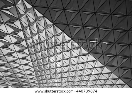 Black and white presentation of abstract geometrical patterns and lines