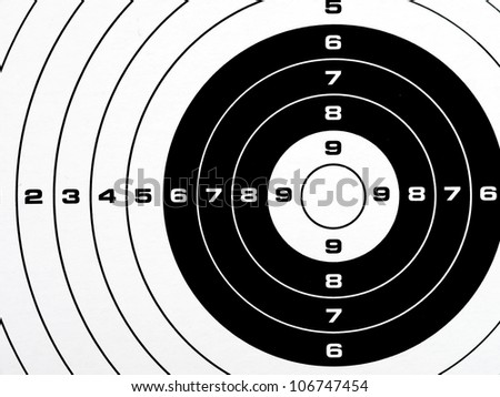 Black and white printed shooting target - bullseye