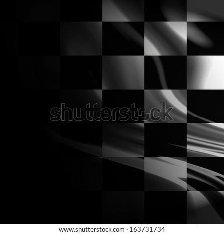 black and white racing flag with some smooth folds in it - stock photo