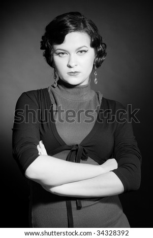 Black And White Retro Portrait of Woman
