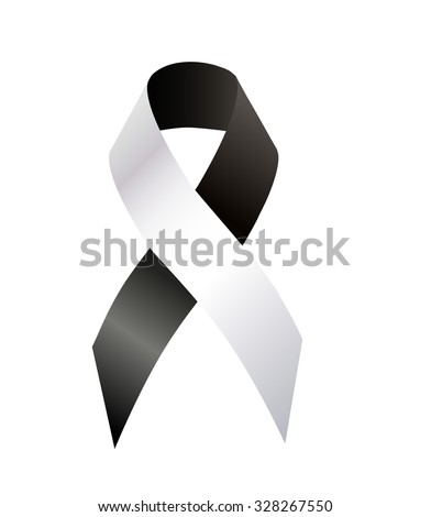 Black and White Ribbon Anti-Corruption, Anti-Racism, Carcinoid Syndrome Cancer, Diversity, Vaccine Awareness - stock photo