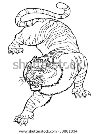 black and white roar of the  tiger ,  freehand - stock photo