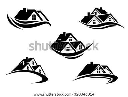 Black and white roof of houses with swoosh is the symbol of real estate business industry design