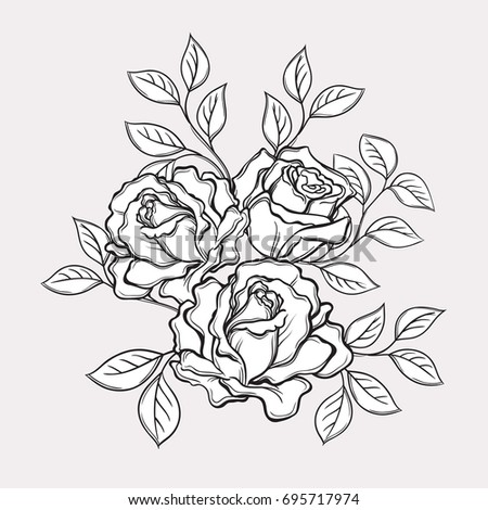 Black and white rose flowers and leaves. Hand drawn illustration. Floral design elements