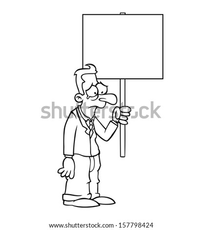 Black and white sad business man holding an empty protest sign. - stock photo