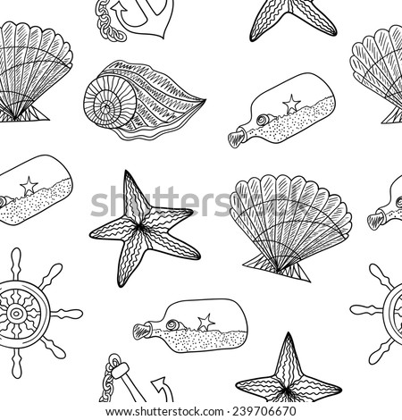 Black and white sea pattern - stock photo