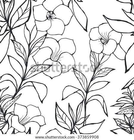 black and white seamless floral pattern - stock photo