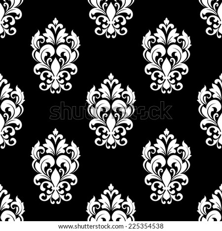 Black white seamless pattern floral motifs stock vector for Arabesque style decoration