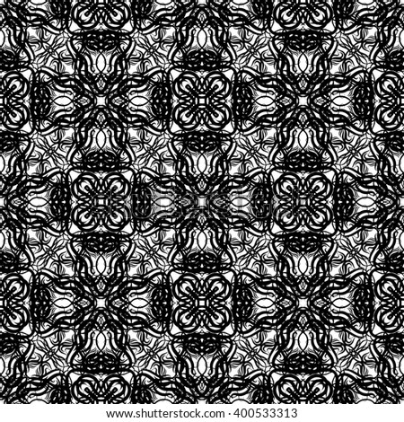 Black and white seamless texture, tribal boho decorative ornament. Folk floral background. Ukrainian, Balkan or Caucasian ethnic embroidery