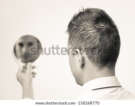 black and white self reflection  - stock photo