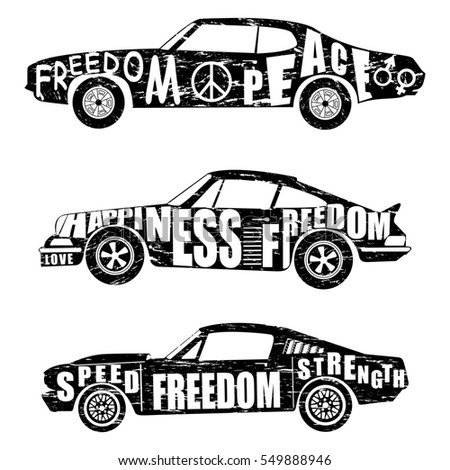 Black And White Set Of Cars Design Logo