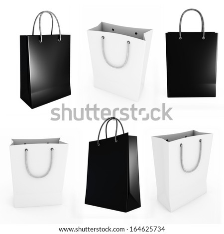 Black and white shopping bag on a white background