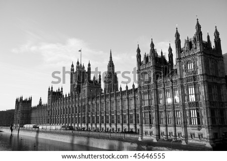 Black and white shot of the Houses of Parliament