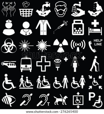 Black and white silhouette medical and healthcare related graphics collection isolated on black background - stock photo