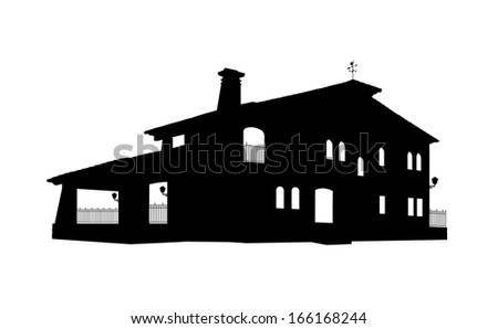 black and white silhouette of a big old style house with a tiled roof, arched windows, lanterns and a forged fence, perspective view - stock photo
