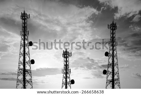 Black and white Silhouette phone antenna - stock photo