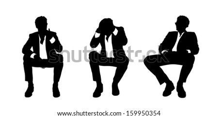 black and white silhouettes of a young handsome businessman seated in a lounge chair in different postures stressed, thinking and relaxed - stock photo