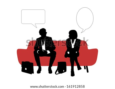 black and white silhouettes of young businessman and businesswoman seated on red sofa having rest and speaking about their business, a vacant text bubbles above them - stock photo