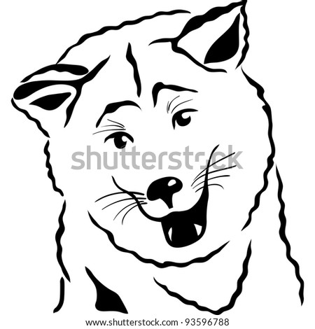 black and white sketch closeup portrait of a Akita Inu Japanese Dog breed