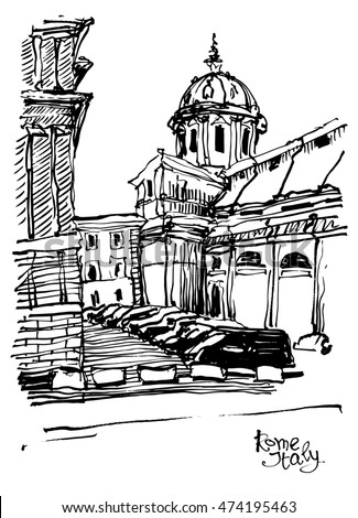 Black And White Sketch Drawing Of Rome Cityscape Italy Old Historical Building Raster Version