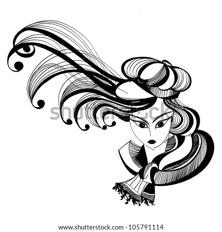 Black and white sketch of a girl with fluttering hair wearing hat and scarf. Raster version of the vector image - stock photo