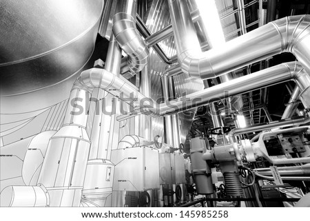 Black and white Sketch of Equipment, cables and piping as found inside of a modern industrial power plant                  - stock photo