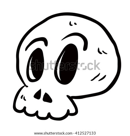 black and white skull cartoon illustration isolated on white